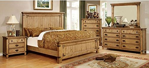 Pioneer Country King Size Bedroom Set Style Weathered Elm Finish 6-Piece