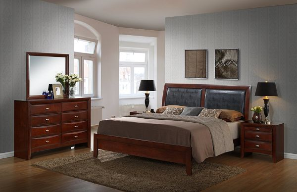 Roundhill Furniture Emily 111 Contemporary Wood Bedroom Set with Bed