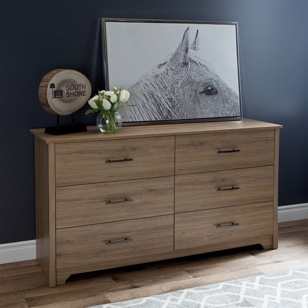 South Shore Fusion 6-Drawer Double Dresser Oak Modern Rustic Bedroom Furniture