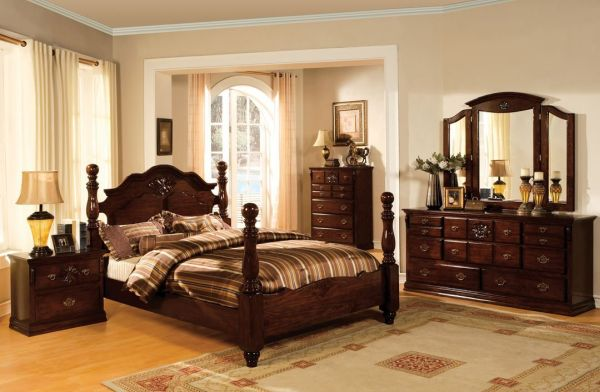 Tuscan II Pine Finish Queen size Dark Wood Bedroom Sets