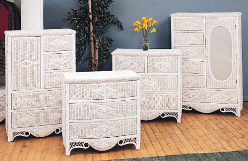 White Wicker Bedroom Furniture Charlotte 5 Drawer Dresser with Door Natural