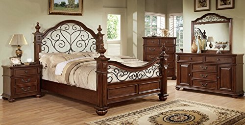 5 PC Landaluce collection transitional style antique dark oak Finish Wood Queen Bedroom Set