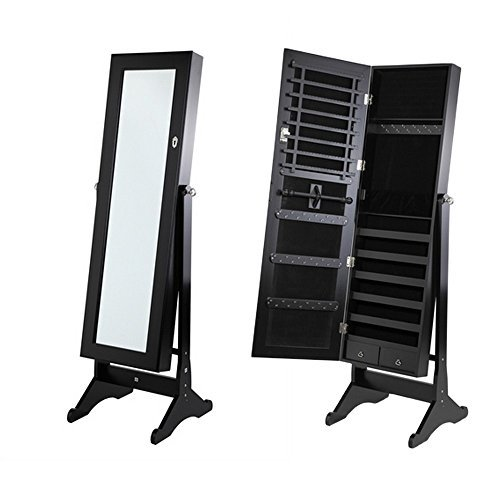 Homegear Jewelry Cabinet with Stand Black Mirrored Bedroom Furniture