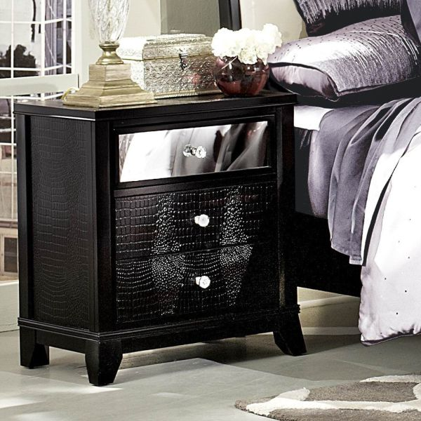 Homelegance Jacqueline Mirrored Drawer Front Nightstand in Black Faux Alligator