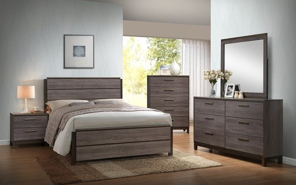 Ioana Antique Grey Finish Wood Bed Room Set King Size Bed Dresser Mirror 2 Night Stands Chest