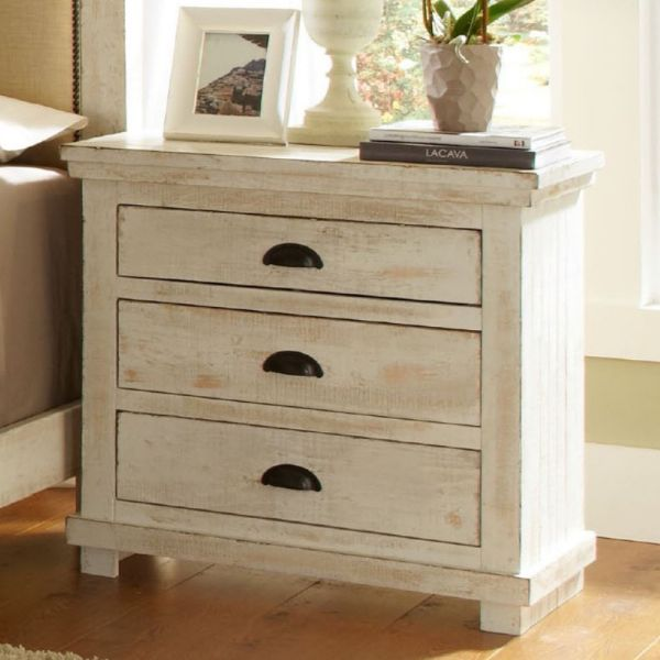 Progressive Furniture Willow Nightstand Distressed White