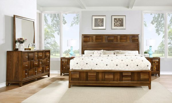 Roundhill Furniture Calais Solid Wood Construction Bedroom Set with Bed Dresser Mirror 2 Night Stands Queen Walnut