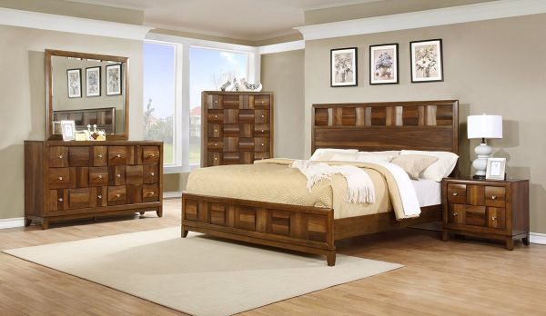 Roundhill Calais Solid Wood Walnut Furniture Construction Bedroom Set