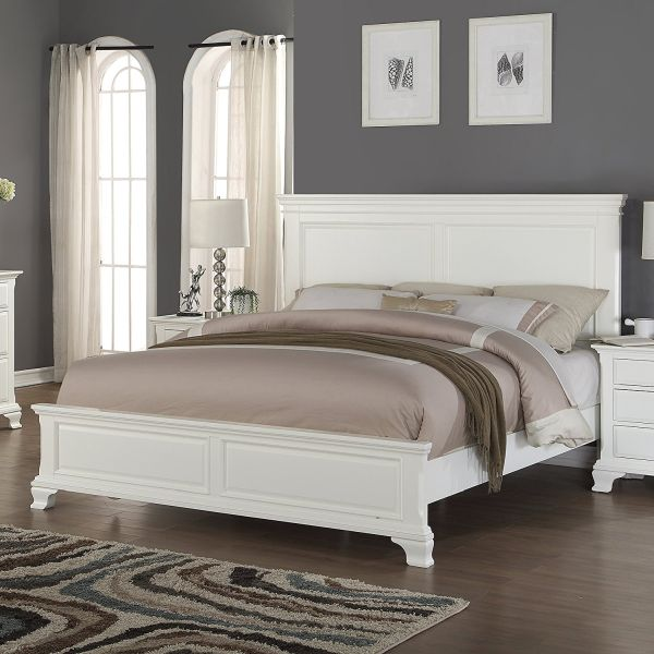 Roundhill Furniture Laveno 012 White Wood Bed Queen