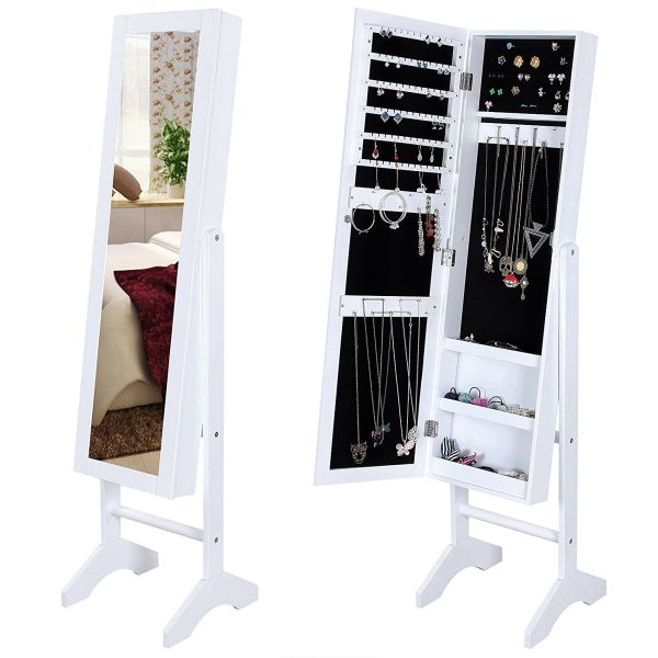 SONGMICS Jewelry Cabinet with Stand Armoire Storage Organizer Real Glass White Mirrored Bedroom Furniture