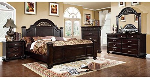 Syracuse Transitional Style Dark Finish Cal King Size 6-Piece Walnut Bedroom Furniture Sets