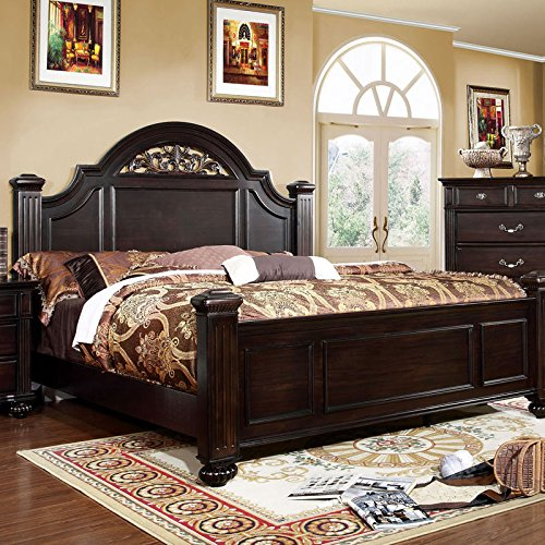 Syracuse Transitional Style Dark Walnut Finish Queen Size Bed Frame Set