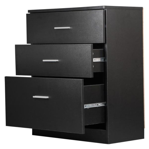 World Pride Black Chest of Drawers Bedroom Dressers 3 Drawer Storage Cabinet Funiture