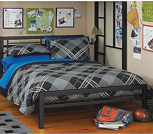 Black Full Size Metal Bed Platform Frame, Great Addition to any Kids or Boys Bedroom Set