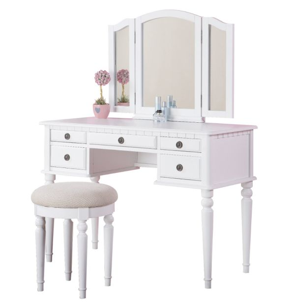 Bobkona St. Croix Collection Vanity Set with Stool, White Bedroom Furniture Sets