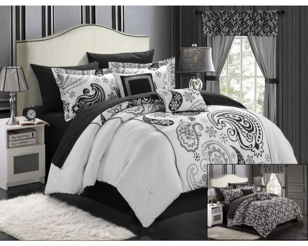 Chic Home 20-Piece Olivia Paisley Print Reversible Comforter Set, King, White or Black