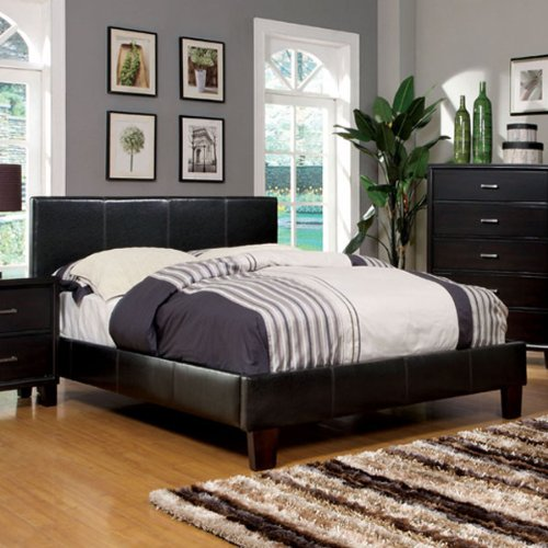 Full Size Bedroom Sets Winn Espresso Finish Leatherette Platform Bed Frame Set