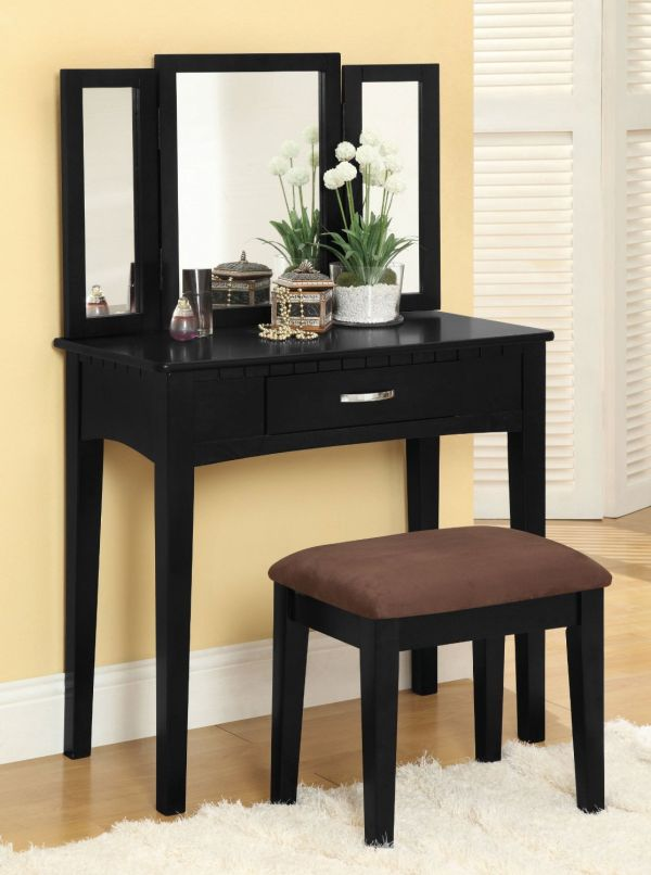 Furniture of America Doris 2-Piece Vanity and Stool Set, Black