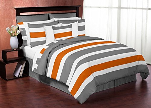 Gray Orange and White Stripe 4 Piece Childrens Teen Boys Twin Bedding Set Collection