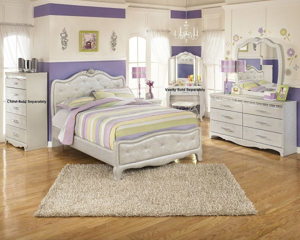 Julia Silver and Pearl Girls Full Size Bedroom Set , Bed Dresser Mirror Night Stand