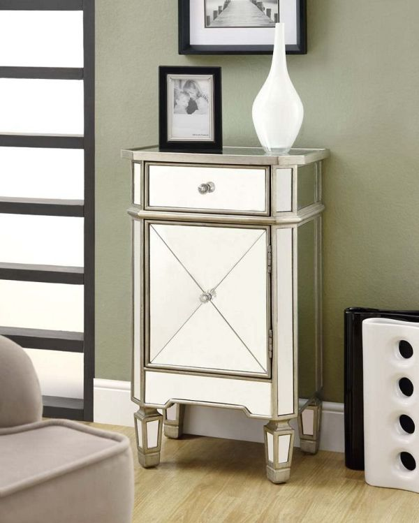 Monarch Specialties 1-Drawer Accent Cabinet, Silver Mirrored Bedroom Furniture