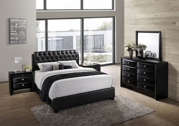 Roundhill Furniture Blemerey 110 Wood Bonded Leather Bed Group Black Bedroom Furniture Sets