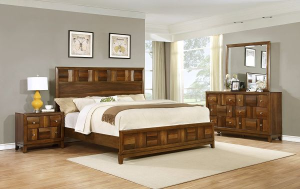 Roundhill Furniture Calais Solid Wood Construction Contemporary Queen Bedroom Sets