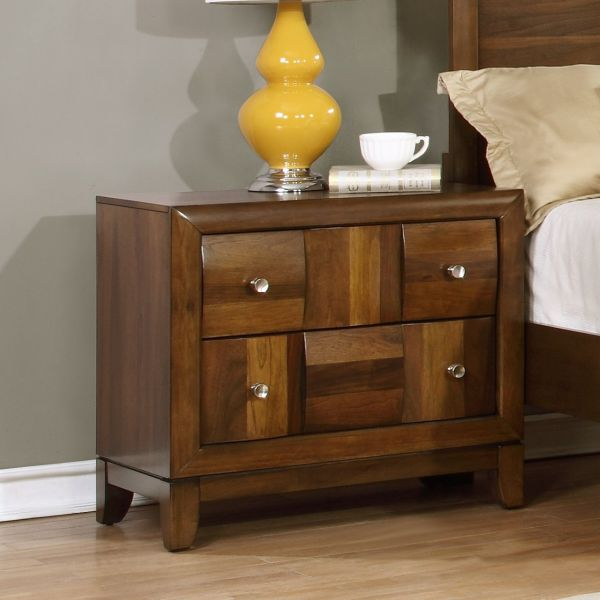 Roundhill Furniture Calais Solid Wood Construction Nightstand, King, Walnut