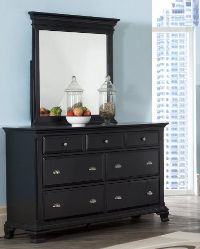 Roundhill Furniture Laveno 011 Black Wood 7-Drawer Dresser and Mirror
