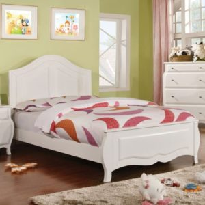 Roxana White Finish Youth Girl Bedroom Sets Full Size Frame