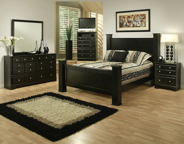 Sandberg Furniture Elena 5 Piece Bedroom Set Queen Black