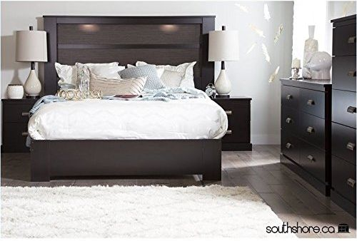South Shore Gloria 3PC Queen Size Platform Bedroom Sets in Chocolate