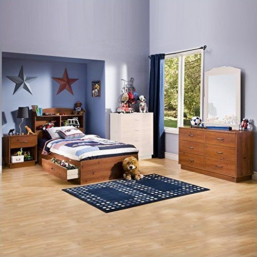 South Shore Logik Kids Sunny Pine Twin Wood Storage Bed 4 Piece Boys Bedroom Set