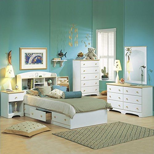 South Shore Newbury Kids White Wood Captains Bed 4 Piece Boys Twin Bedroom Set