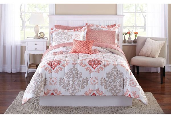 Teen Girls Pink Coral Damask 8 Piece Comforter Set Teen Bedroom Furniture Ideas