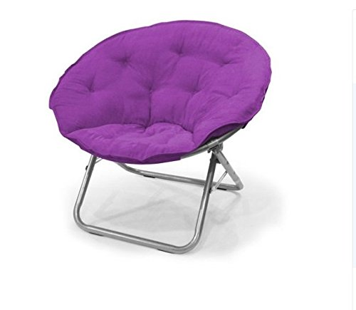 Urban Shop Contemporary Plush Microsuede Saucer Chair, Solid, Iris