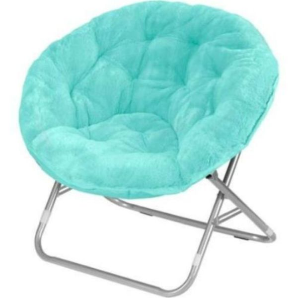 Mainstays Faux-Fur Saucer Chair Aqua Wind