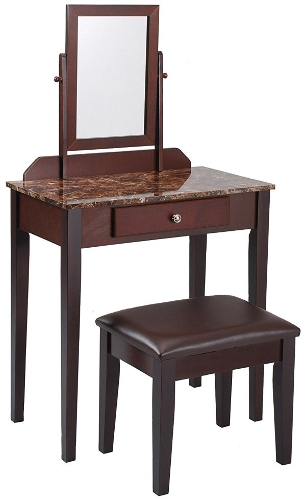 Crown Mark Iris Vanity Table Stool, Espresso Finish, Marble Top