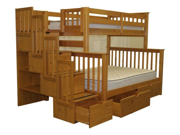 Bedz King Stairway Bunk Bed Twin over Full with 4 Drawers in the Steps and 2 Under Bed Drawers Honey