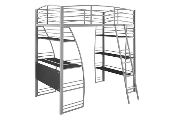 DHP Studio Loft Bunk Bed Over Desk and Bookcase with Metal Frame Twin Gray