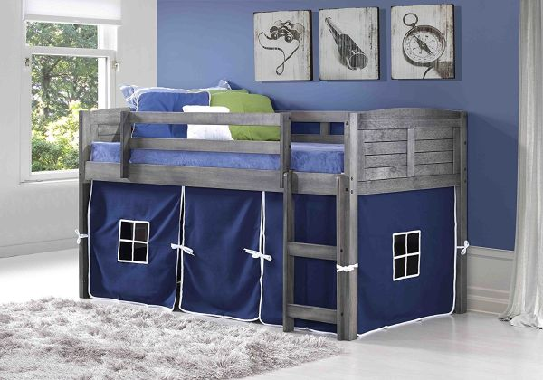DONCO KIDS Louvered Low Loft with Blue Tent Twin