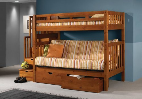 Tall Twin over Full Futon Mission Honey Stairway Bunk Bed with Drawers
