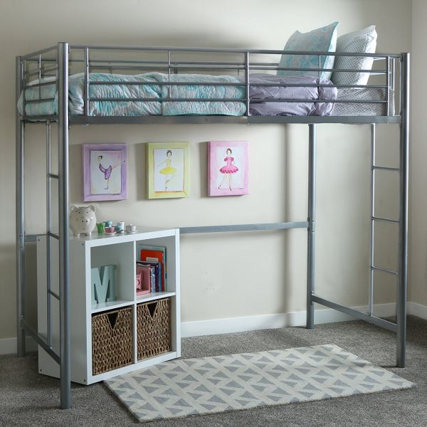 WE Furniture Twin Metal Loft Bed Silver
