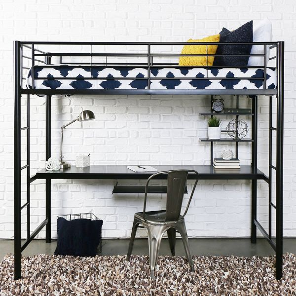Full Size Bunk Bed with Desk Underneath