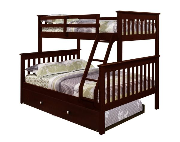 Bunk Bed Twin over Full Mission Style in Cappuccino with Trundle