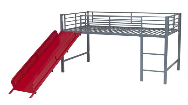 DHP Junior Fantasy Loft Bed Silver with Red Slide