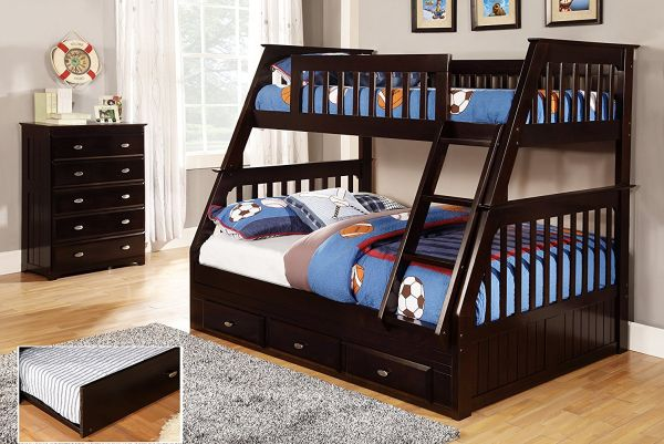 Discovery World Furniture Twin over Full Bunk Bed with Twin Trundle, Espresso