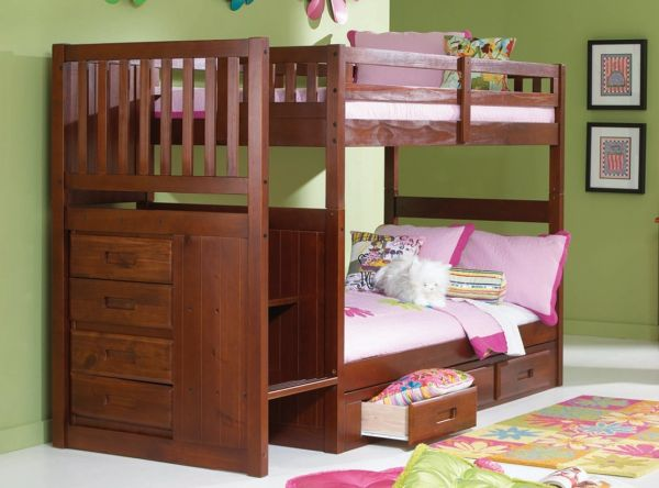 Mission Twin Over Twin Staircase Bunk Bed with Trundle Desk Hutch Chair and 5 Drawer Chest in Merlot Finish