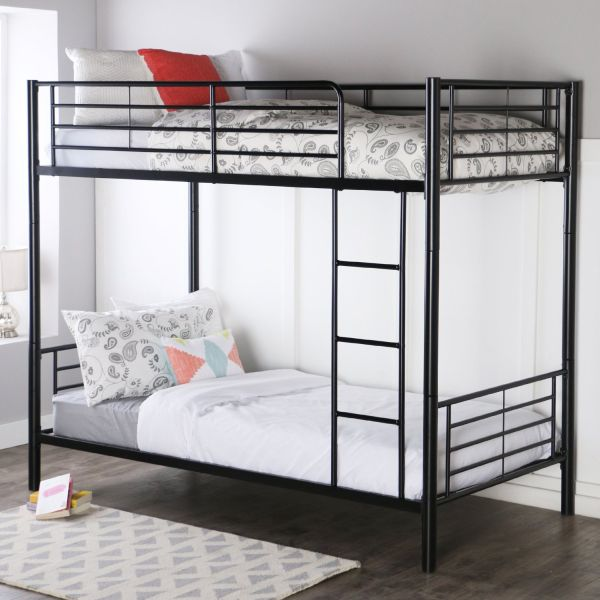 Walker Edison Twin-Over-Twin Metal Bunk Bed Black