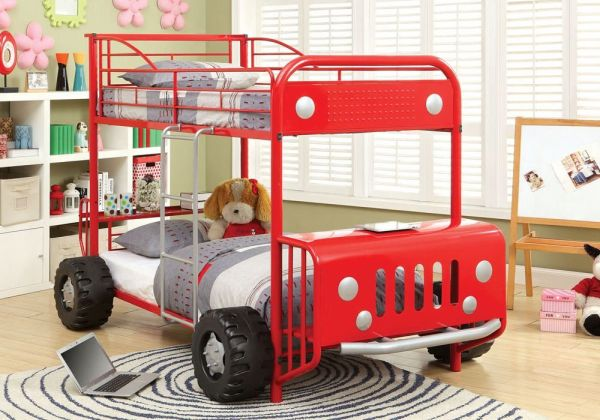1PerfectChoice Explorer Kids Jeep Rover Car Design Twin Twin Bunk Bed 3D Wheels Metal in Red